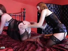 Horny lesbian fucks her partners hot pussy