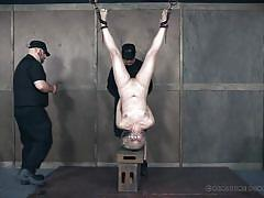 blonde, bdsm, babe, urine, suspended, electric vibrator, real time bondage, head down, fishbowl, real time bondage, dresden