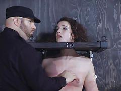 bdsm, babe, vibrator, mouth gagged, bondage cage, device bondage, infernal restraints, nipples pinching, infernal restraints, endza adair
