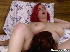 Redhead tranny munching on wet pussy