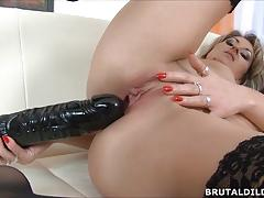 Tattood blonde laura fucked by huge dildo