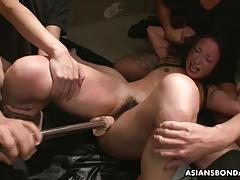 Dominated asian sucking cock