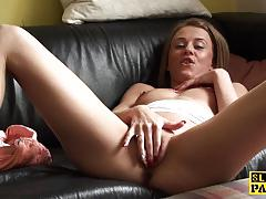 Horny babe plays with her hot pussy