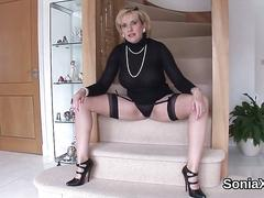 Unfaithful british milf lady sonia shows off her big jugs
