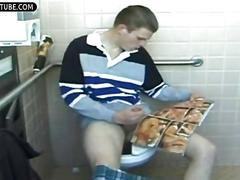 Jerking off in dorm toilet