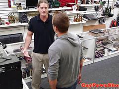 Hunk cocksucks pawnbroker in latex morphsuit