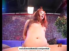 Sexy babe gets on her knees getting cum covered - extreme bukkake