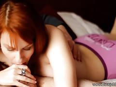 Redhead stuff her mouth with cock