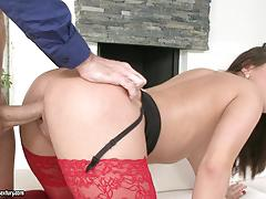 Nikki waine bent over and cock drilled