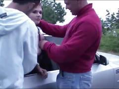 Public orgy with a pregnant girl through the car windows