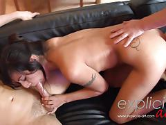 Sultry babe double penetrated in threesome
