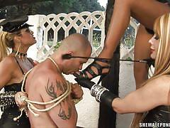 Tranny trio punishing and fucking their sex slave