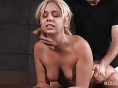 Blonde babe getting threesome bdsm fucking in dungeon