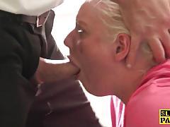 Blonde amateur gets her slippery throat slammed
