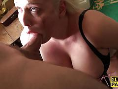 Blonde amateur gets her slippery throat slammed