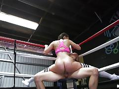 Sporty brunette gia paige hammered in the ring