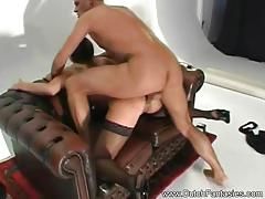 Stocking clad babe gets her pussy slammed