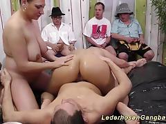 Luscious babes enjoy gangbang