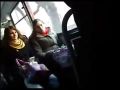 Flashing a big cock for a curious girl in the bus