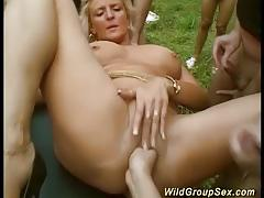 German amateurs fucked in outdoor orgy