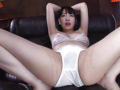 Slutty japanese brunette getting vibrated
