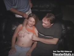 Big tit anal gangbang in porno theater blonde