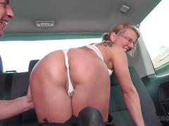 Takevan - ugly milf teacher get sperm covered her glasses in van