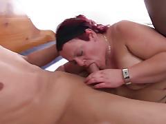 Mature german redhead in mmf threesome