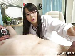 Naughty jp nurse teasing with the patient's cock