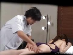Japanese in swim suit gets tits massaged