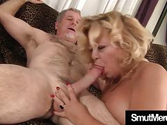 Mature blonde swallows this hard cock