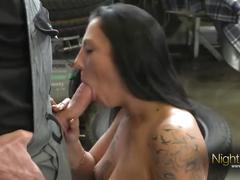 big dick, brunette, german, old/young, nightclub, tattoos, old-young, stockings, euro, big-cock, cock-sucking, shaved, reverse-cowgirl, hardcore, doggy-style, cumshot, cum-on-ass