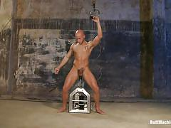 Bald gay guy gets ass-fucked by machines