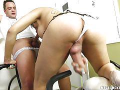 Guy making love to a big dick brunette ladyboy