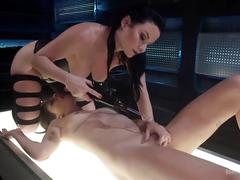 bondage, toys, lesbian, rough sex, electrosluts, bdsm, girl-on-girl, adult-toys, rough, femdom, suspension, violet-want, electricity, electric, tattoo, raven, brunette, natural-tits, redhead, heels