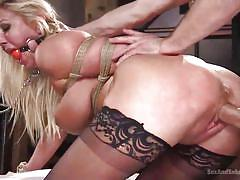 Buxom blonde in stockings gets dominated pounding
