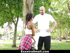 Exxxtrasmall - petite ebony bounces on a stiff big cock