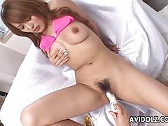 Asian brunette gets her hairy pussy vibed