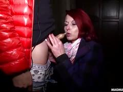 Wild redhead public and double penetration