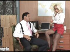 Sexy blonde office slut lana cox fucked deep and left dripping with cum