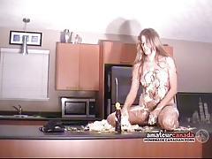 Messy crushed cake whipped cream naked striptease by bikini amateur