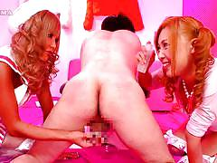Cosplaying japanese sluts toying with a man