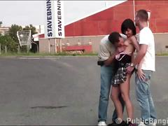 Petite little teen girl public gangbang orgy with 2 guys with big dicks