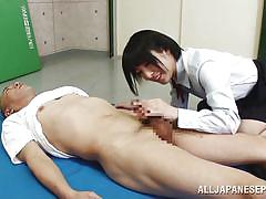 Japanese babe in school uniform playing naughty games