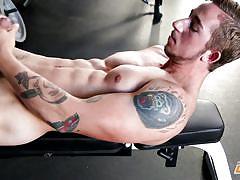 gay, tattooed, masturbation, solo, big penis, muscled, cumshot, at gym, next door male, next door world, chris b