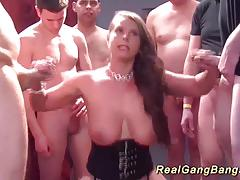 Busty babe enjoys group fuck
