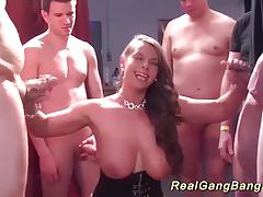 Busty babe enjoys group fuck