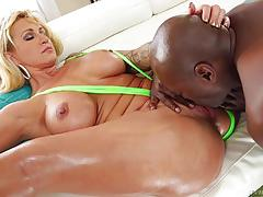 ryan conner, lexington steele, blowjob, riding, doggystyle, cumshot, blonde, interracial, shaved pussy, sucking, black cock, licking pussy, bbc