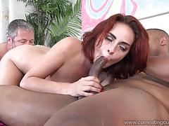 ashley graham, brunette, masturbation, threesome, wife, husband, big cock, cuckold, bisexual, cum shot
