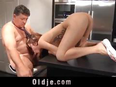 Spoiled step daughter fuck and facial punishment from step dad